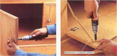 Как прикрутить ручку к двери шкафа?